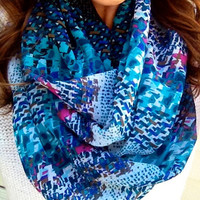 Spring Mosaic Print Infinity Scarf