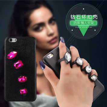 New 2016 Women Beaty i ring Cell Phone Cases For Apple iPhone 6 s plus Girl Mobile fingers in Case Cover