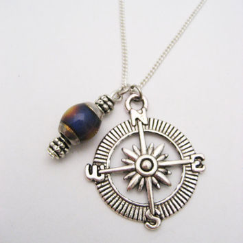 Mood Necklace Compass Necklace Compass Jewelry Direction Traveler Gift Color Change Jewelry Nautical Jewelry Mood Jewelry