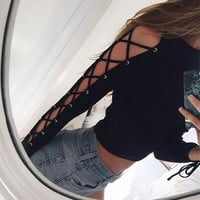 Slash Neck Fashion Sexy Long Sleeve Bandage Black Tee Shirt Women Rivet Rock Gothic Top Shirt