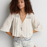 AEO Lace-Up Crop Top , Cream