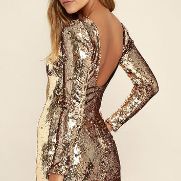 Dress the Population Lola Gold Sequin Dress