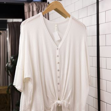 Waffle Knit Button Down Top, White