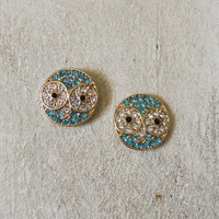 Blue Pave Owl Earrings [4960] - $9.00 : Vintage Inspired Clothing & Affordable Dresses, deloom | Modern. Vintage. Crafted.