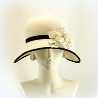 White Hat for Women Large Wide Brim Hat 1920s by TheMillineryShop