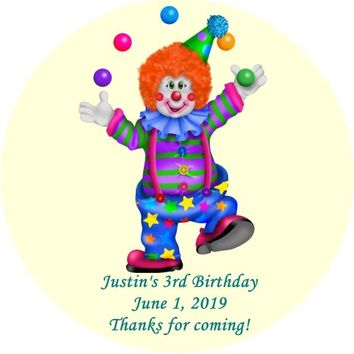 Circus Clown Birthday Party Favor Tags