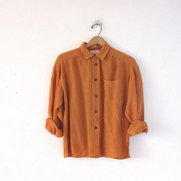 vintage acetate / rayon shirt. button up blouse. long sleeve golden yellow blouse. minimalist