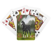 Black Horse in Spring Meadow Playing Cards