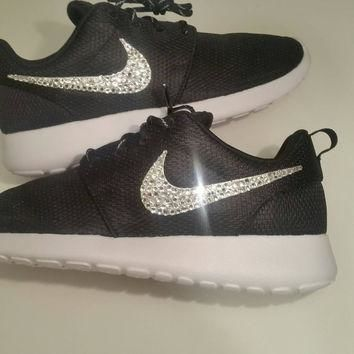 Nike Roshe Run Black With Swarovski Crysral Rhinestones - Bling Nikes, Bling Shoes, Bl
