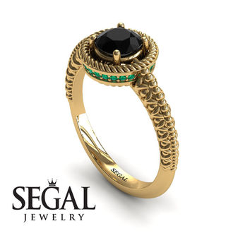 Unique Engagement Ring 14K Yellow Gold Vintage Art Deco Victorian Ring Edwardian Ring Filigree Ring Black Diamond With Green Emerald - Penelope