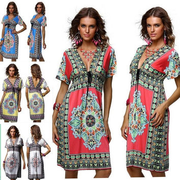 2015 Fashion Retro 1960s 1970s Sundress Vintage Paisley Print Hippie Bohemian Knee-Length Beach Dress M-XXL = 5739073857