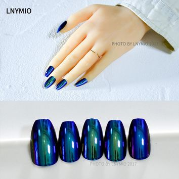 24Pcs Fashion Mirror metal fake nails blue effect press on artificial nail tips