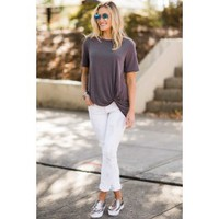 A List Twist Grey Top
