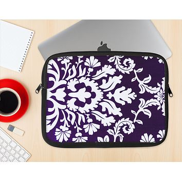 The Blue & White Delicate Pattern Ink-Fuzed NeoPrene MacBook Laptop Sleeve