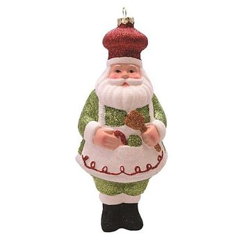"6"" Merry & Bright Green  White and Red Glittered Shatterproof Santa Chef Christmas Ornament"