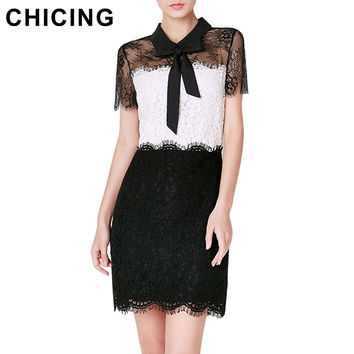 CHICING Women Eyelash Lace Bodycon Dresses 2016 Summer Elegant Peter pan Collar With Bow Black White Patchwork Dress B1604094