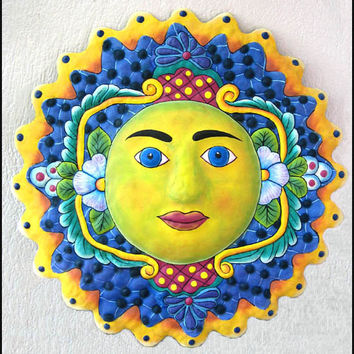 "Sun Design - 24"" Hand Painted Metal Sun Wall Hanging - Outdoor Garden Decor - Recycled Haitian Steel Drum Garden Art, Metal Art, M-105-BL-24"