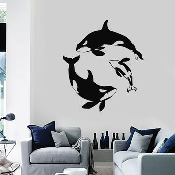 Wall Decal Whale Marine Animal Bathroom Decor Art Vinyl Stickers Unique Gift (ig2832)