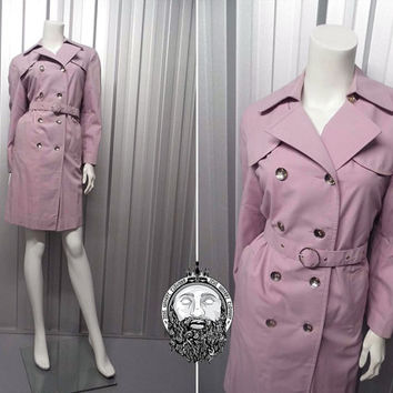 Vintage 60s Pastel Purple Womens Trenchcoat Trench Coat Mod Raincoat Womens Mac Lavender Mackintosh Coat Double Breasted Rain Jacket 1960's