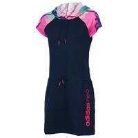 "Trend ""Adidas"" Movement Leisure Jogging Hooded In The long Section Short Sleeve Dress"
