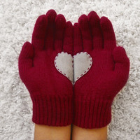 Heart Gloves, Dark Red Gloves with Grey Felt Heart