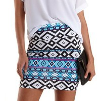 Black/White Geometric Print Bodycon Mini Skirt by Charlotte Russe