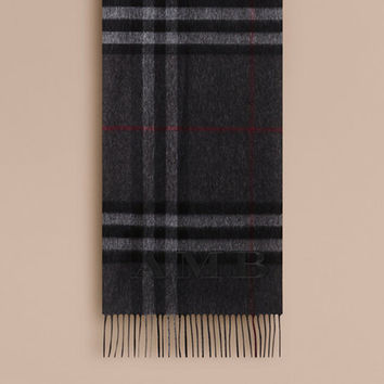 The Classic Cashmere Scarf in Check in Charcoal | Burberry