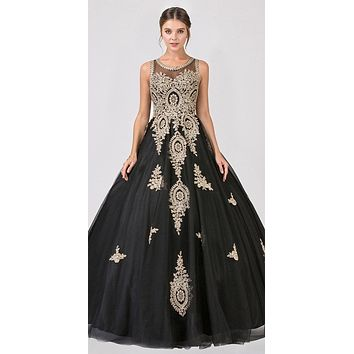 Black Cut-Out Back Quinceanera Dress with Gold Appliques