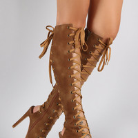 Cape Olga Tan Lace Up Front & Back Open Toe & Heel Boot 6-11