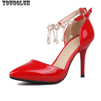 Beading High Heels(9.5cm)Women Sexy Ankle Strap Thin Heel Pumps Ladies Pointed toe Party Shoes Fashion Woman Gray Red Pink Shoe