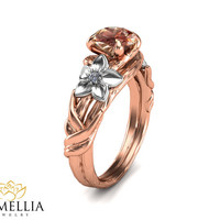 14K Rose Gold Morganite Ring,Unique Morganite ring,Branche Ring,Leaf Rings,Two Tone Ring,Flower  Ring,Nature Inspired,Art Deco Ring.