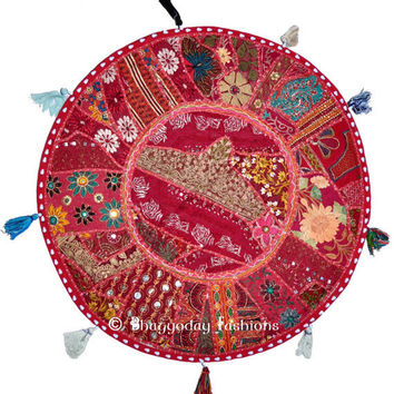 "18"" Round Floor Cushion Round Pillow Indian pillow Bohemian Patchwork floor round cushion pouf Vintage Indian FootStool Bean Bag tapestry"