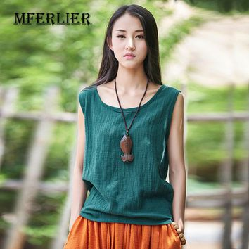 6 Color Women Tshirt Simple Vintage Solid Tank Tops Cotton Linen Casual Sleeveless Green Orange White Blue Women Top