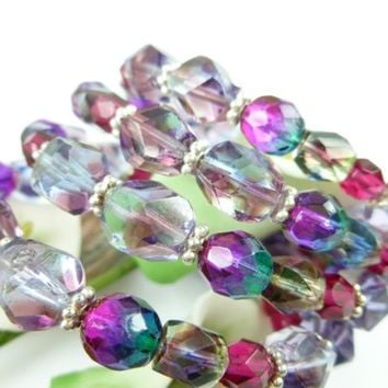 Amethyst, Fuchsia, Teal Czech Fire-Polished Beaded Coil Wrap Bracelet