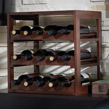 Furniture of America Stacie Rustic Vintage Walnut 15-bottle Wine Rack (Color: Brown)