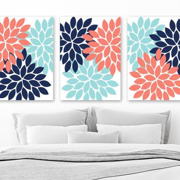 Coral Navy Aqua Bedroom Wall Decor, Flower CANVAS or Print, Coral Navy Aqua Flower Bathroom Decor, Flower Petals Home Decor Set of 3 Picture