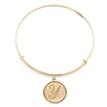 Alex and Ani Precious Initial Y Charm Bangle - Gold Filled