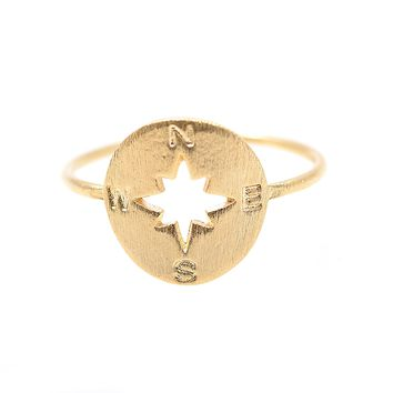 Handcrafted Brushed Metal Never Lost Compass Ring