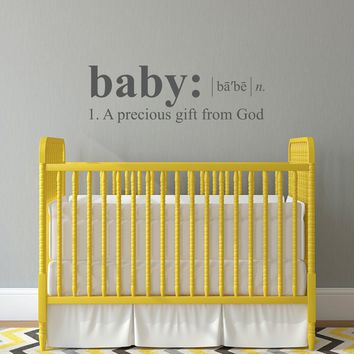 Nursery Wall Decal - Baby definition Decal - a precious gift from God - Large