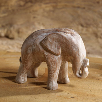 Hand Carved Elephant Sculpture made from White Washed Mango Wood | Wooden Animal Statue