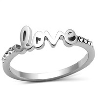 Celebrity Trend Silver Love Script Promise Engagement Ring