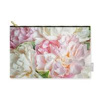 Pink Peony Carry All Pouch. Beautiful Blooming Flowers Carry-All Pouch, Cosmetic Bag, Make Up Bag, Zipper Pouch