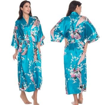 3XL Big Size Satin Robes Women Robe Sexy Plus Dressing Gown Silk Peignoir Batas De Seda Pink Satin Robe Floral Satin Robe Femme