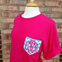 SHORT SLEEVE -Monogram Pocket Tee Shirt -Chevron- Style 1