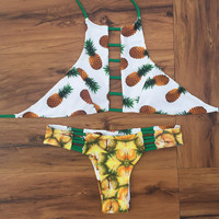 Yellow Pineapple Printed Reversible Strappy High Neck Halter Cut Out Cheeky Brazilian Bikini Set