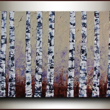 ORIGINAL large Oil Painting on stretched canvas - Palette knife - Oil thick texture - Birch Forest - by Tatjana Ruzin - Made to Order