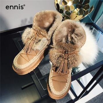 ENNIS 2017 New Lace Up Snow Boots For Women Rabbit Fur Winter Boots Suede Leather Ankle Short Booties Ladies Warm Shoes A756