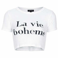 La Vie Boheme Ribbed Crop Tee - White