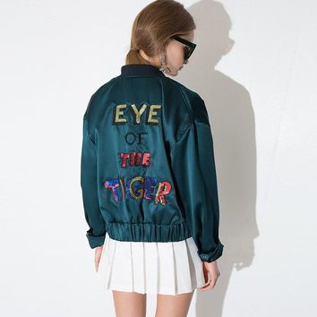 "PLT Sequined ""Eye of the Tiger"" Bomber Jacket"