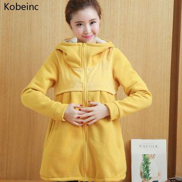 Kobeinc Plus Cashmere Thick Coat For Pregnant Women Autumn Winter Warm Maternity Clothes Solid Casual Pregnancy Outerwear